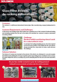 Glass Fiber Bobbin, de-racking automation