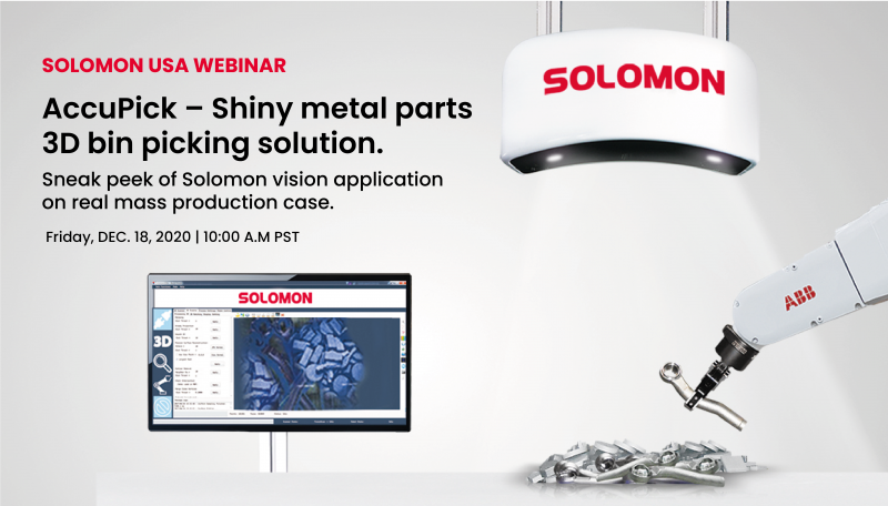 AccuPick – Shiny metal parts 3D bin picking solution. Sneak peek of Solomon vision application on real mass production case.
